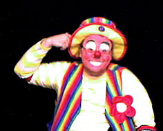 Raynbow the clown knocks on his head - is anybody home?
