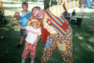 Raynbow the clown and friend at picnic