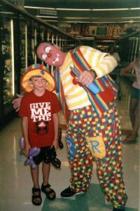 Raynbow the clown and friend inside Trigs