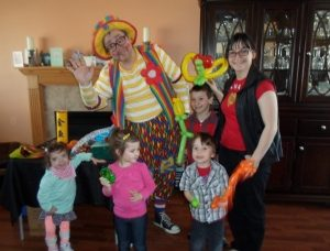 Raynbow the clown at Jake's 4th birthday