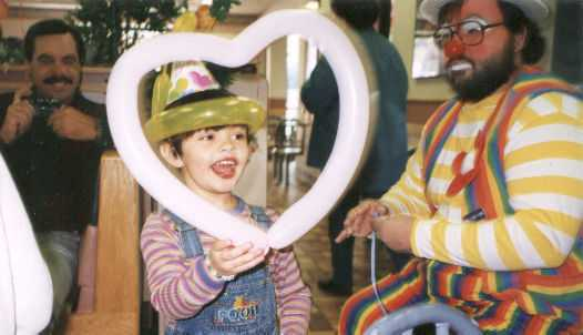 A balloon heart for the birthday girl at the very first birthday party that Raynbow the clown ever performed at - happy birthday, Abby!
