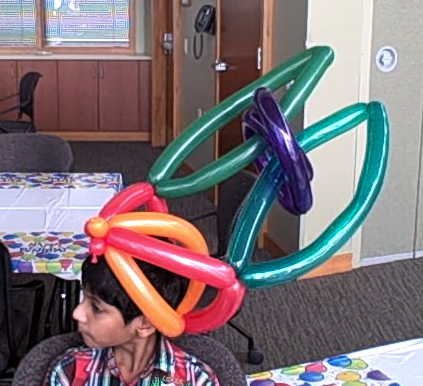 Bunny ears birthday hat at a birthday party in Sun Prairie