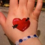 Hand painting of heart with bracelet