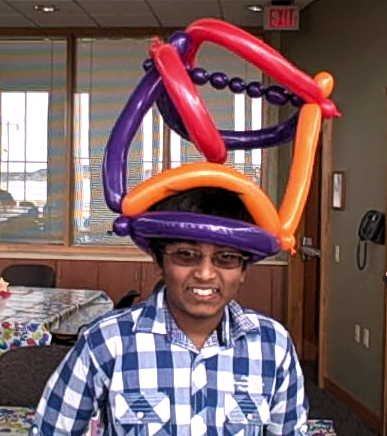 A zany hat at a birthday party in Sun Prairie