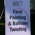 Face Painting & Balloon Twisting sign at Fairbanks Morse Engine company picnic