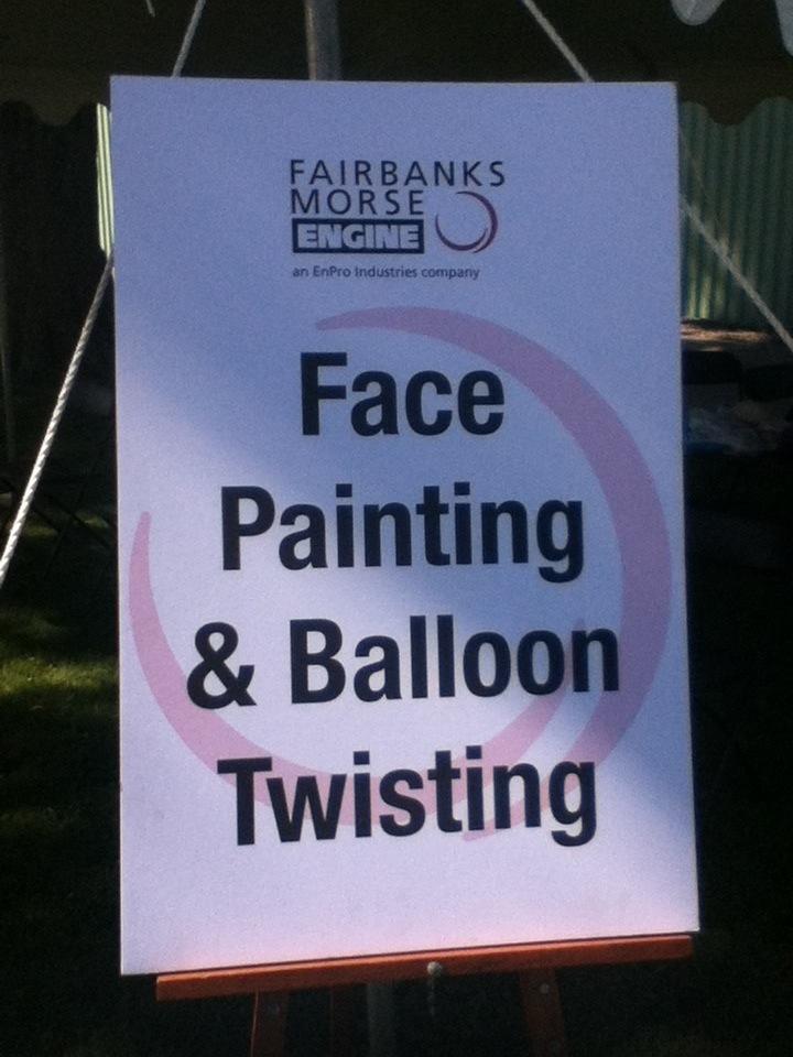 Face Painting & Balloon Twisting sign at Fairbanks Morse Engine company picnic