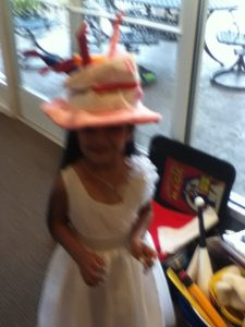 Ritisha wearing the birthday hat