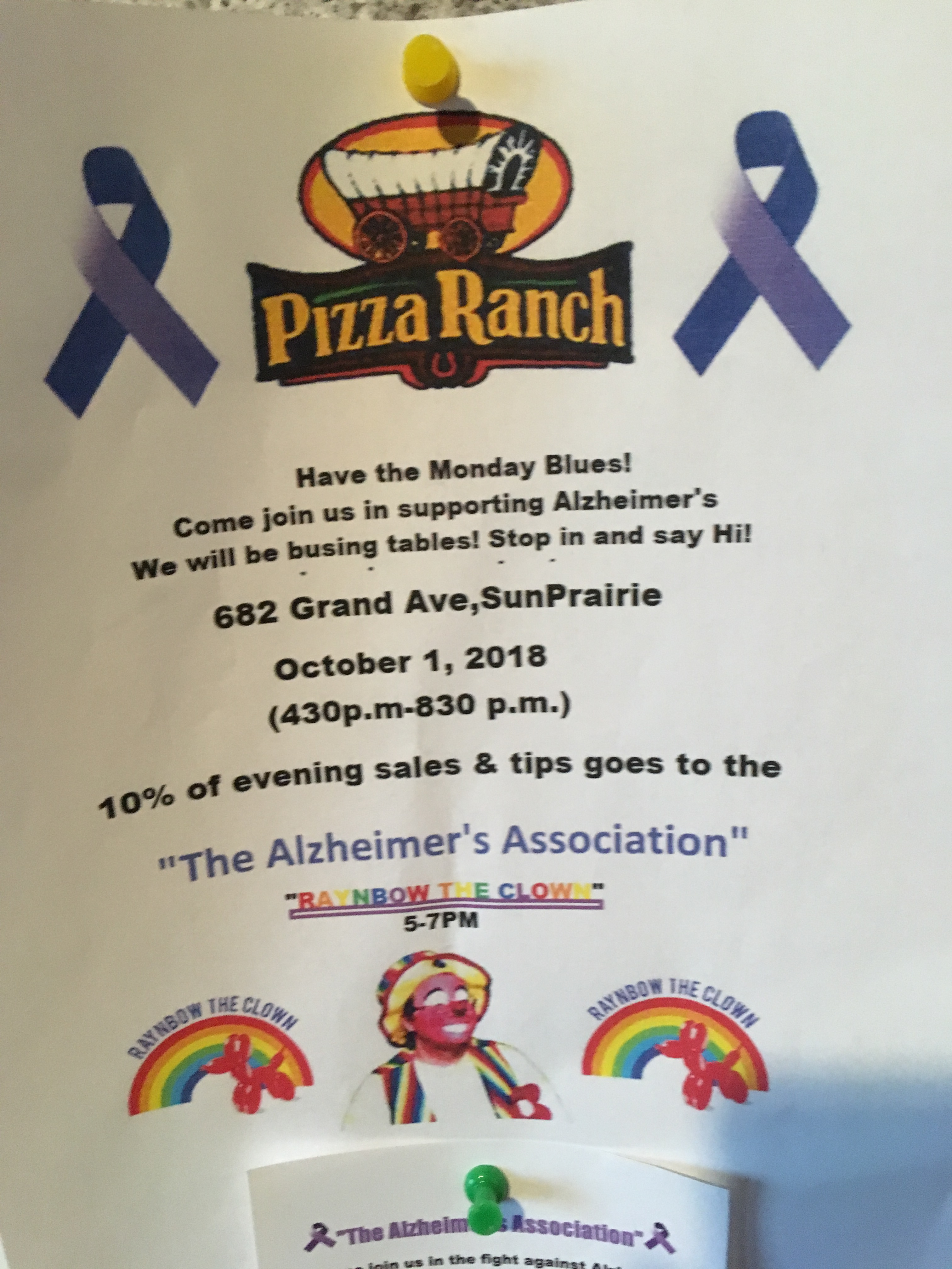 Pizza Ranch notice - Alzheimer's fundraiser with Raynbow