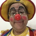 Minimal clown makeup at the New Glarus Bible Church's Grand Prix