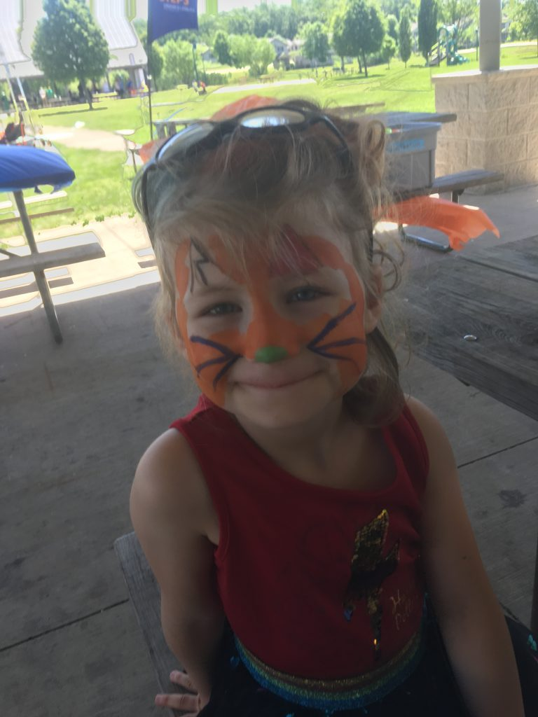 Young lady wanted a cat face - with a lightning bolt for one ear