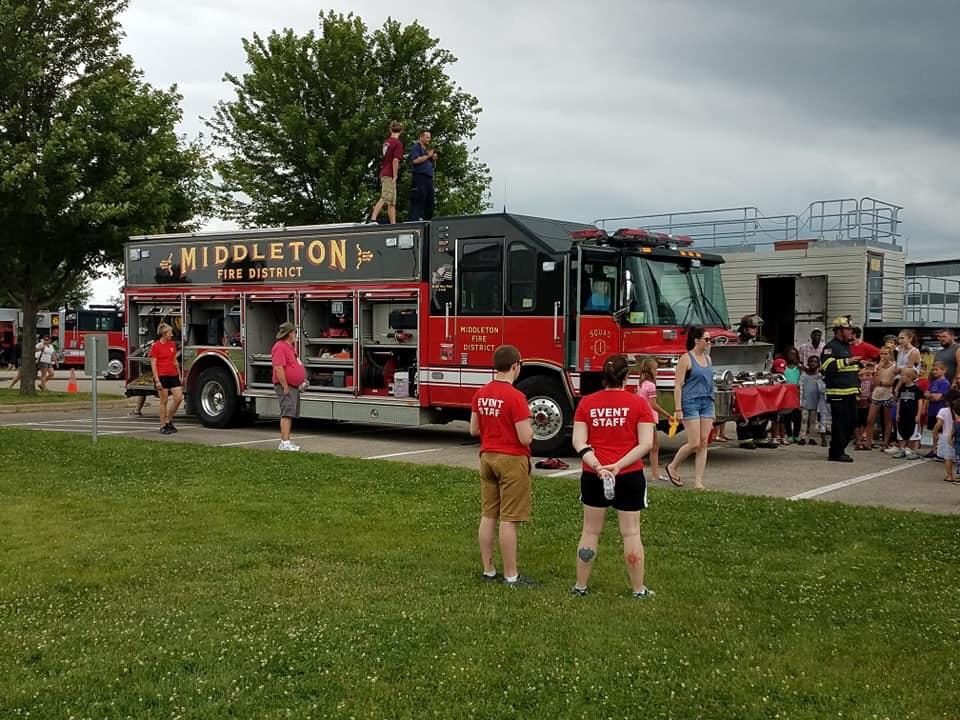Staff at the fire trucks