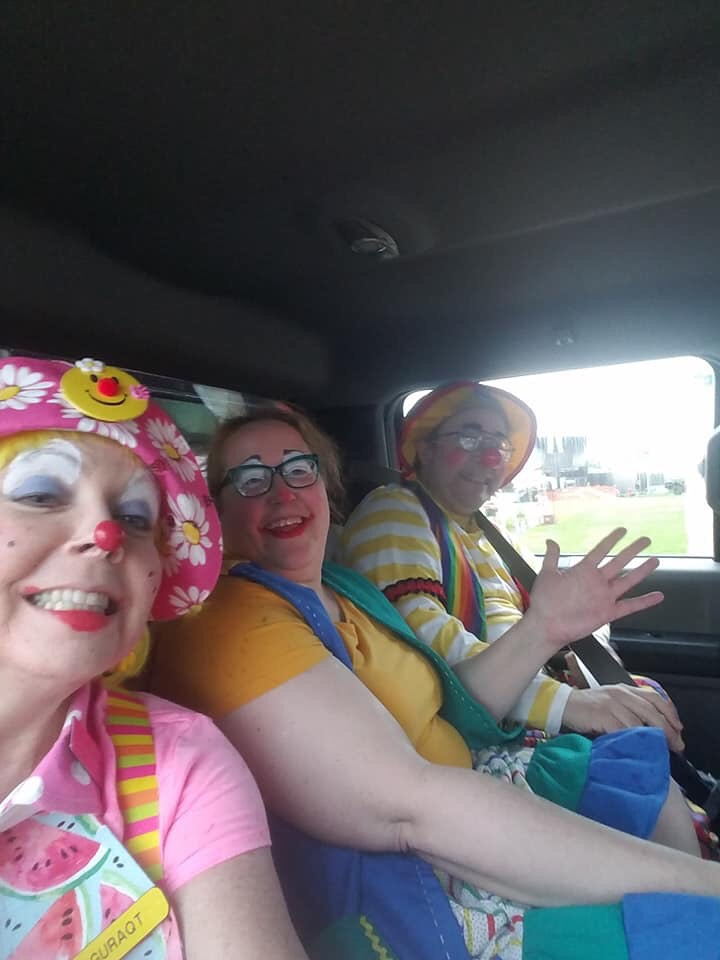 Daisy, Ella & Raynbow driven to our vehicles - Bunky rode up front